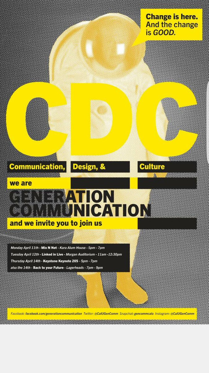 Get to know our Department of Communication, Design and Culture #GenComm @CalUCommStudies  http://www. calu.edu/news/press-rel eases/2016/03/communication-generation.htm &nbsp; … <br>http://pic.twitter.com/FCf0qUXaSz