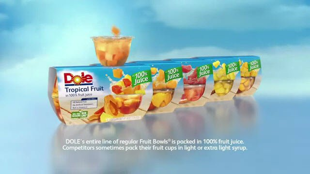 f0bfa62329687b http   www.tvcommercialspots.com food-and-beverage dole-fruits-tv-commercial -new-dole-fruit-bowls-packed-in-100-fruit-juice-so-you-dont-drain-it-we-drink-it  ...