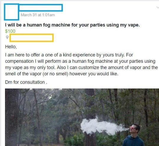 the human fog machine