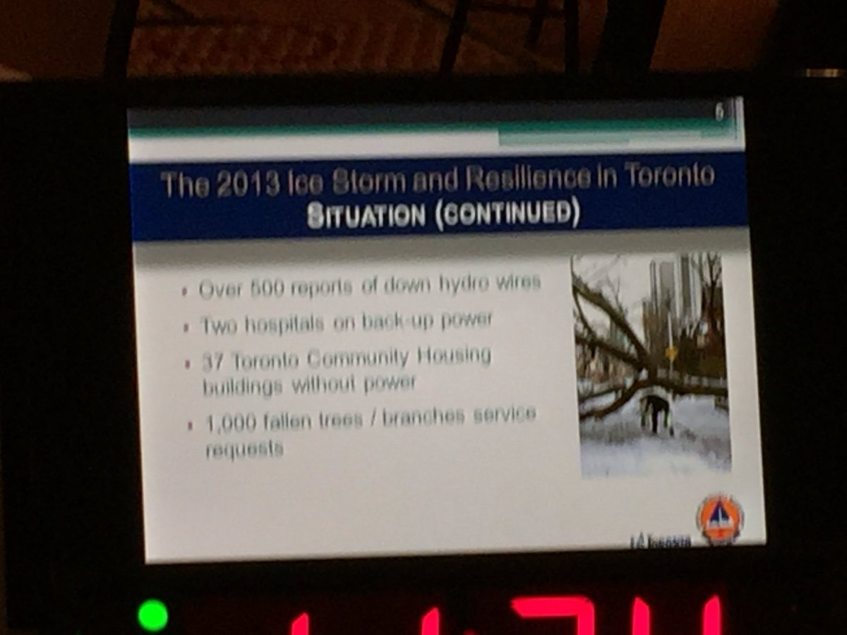 Some great lessons from Loretta Chandler @TorontoOEM on dealing with the 2013 ice storm #smem #cbocresilience https://t.co/434feD0Fmp