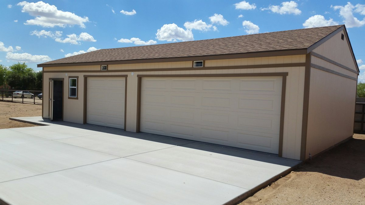 Tuff Shed on Twitter \ Keep your toys safe in a custom #TuffShed garage. Plenty of room for a workshop on the side of this 3 car #garage!\u2026 \  & Tuff Shed on Twitter: \