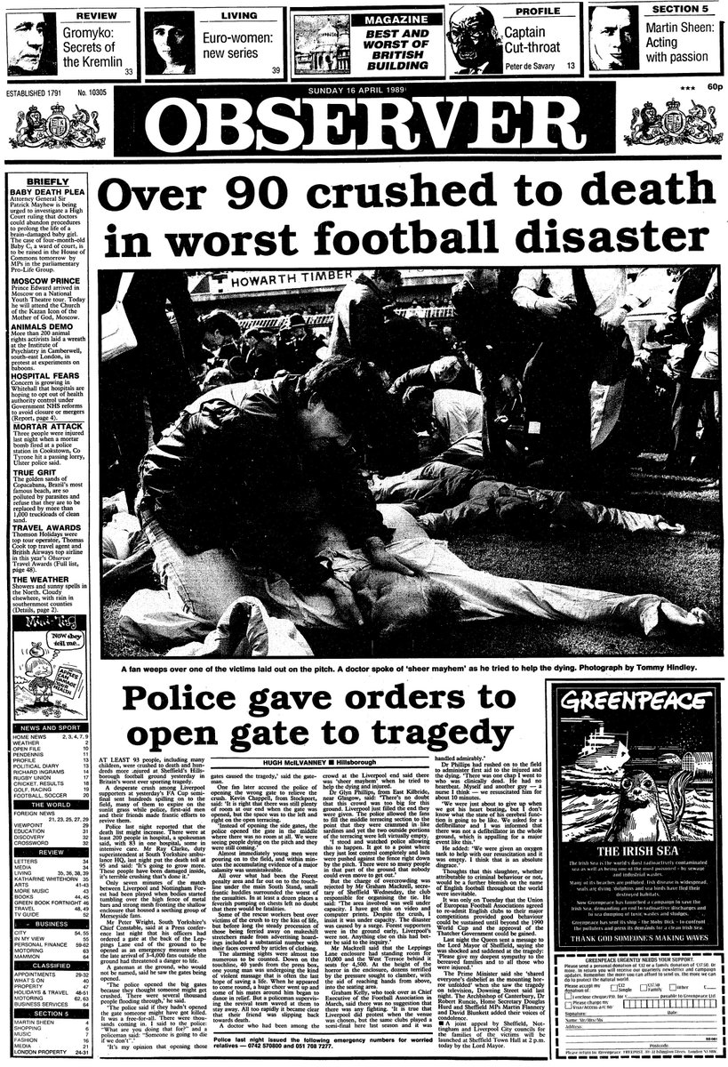Dug out the Observer's splash the day after Hillsborough. Talk about journalism that stands the test of time... https://t.co/cOCCd6nWtU