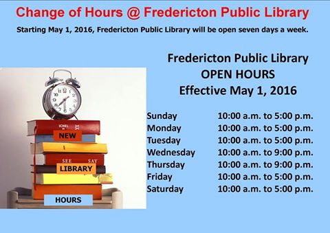 Great news for Downtown Fredericton: Starting May 1 @FredLibrary will be open 7 days per week! https://t.co/pEFtlfy3DM