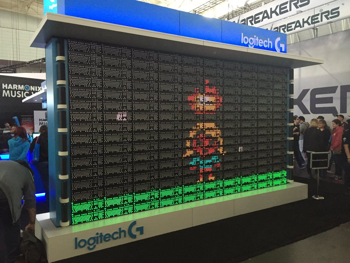Awesome keyboard wall at PAX East #GreatWallOfLogitechG