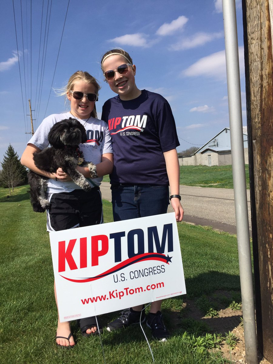 Show your support for these girls Papa, @kiptom. Post a picture of your yard sign!  #KipForCongress #IN03 #Vote https://t.co/0ZAk3Gvvhr