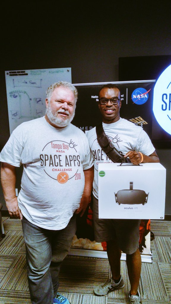 WHAT!? Did I just win the grand prize and a new @oculus #Rift donated by @iondragonfly at #NASA  #SpaceAppsTampa??!! https://t.co/nYZOLnvbHW