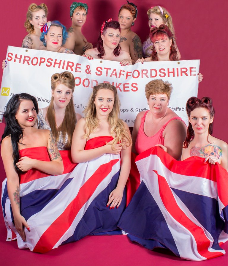Ladies side bare all in calendar for charity