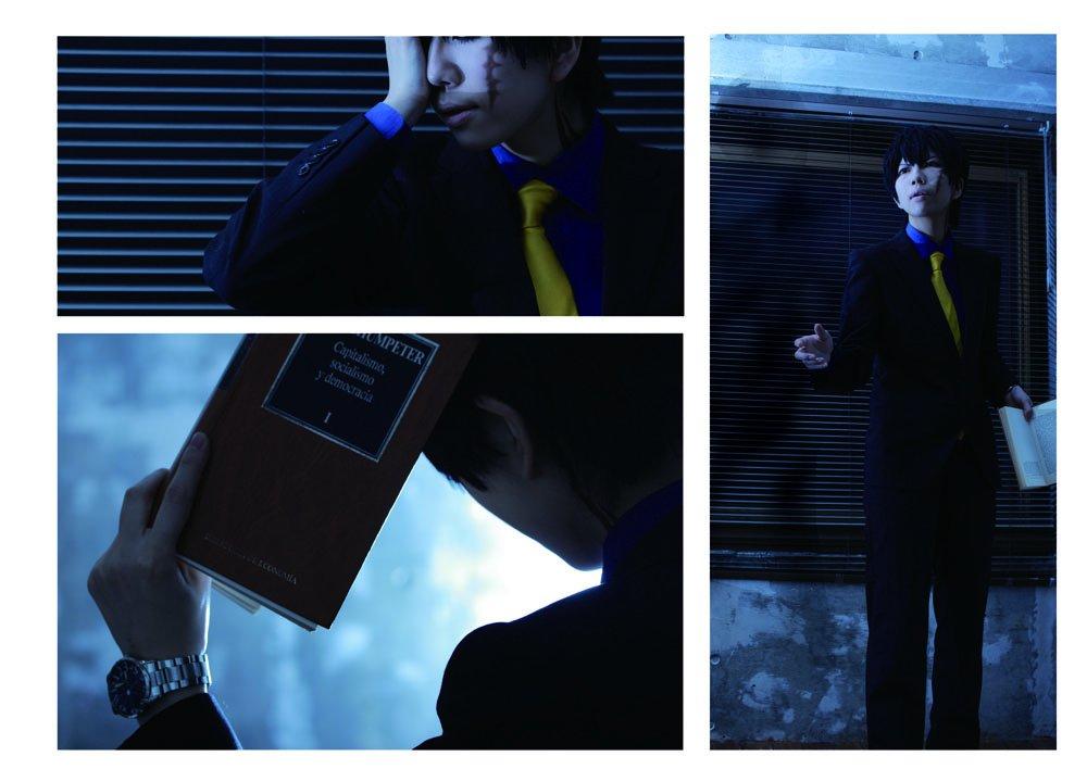 【血界戦線】-人狼大作戦その後-  「自分のいない世界のことを  当たり前のように語らないでください」  「・・・符牒は、変えませんから」  (また泣かせてしまった・・・)  スティーブン:かなつぉ チェイン:めぐのじ 撮影:五月