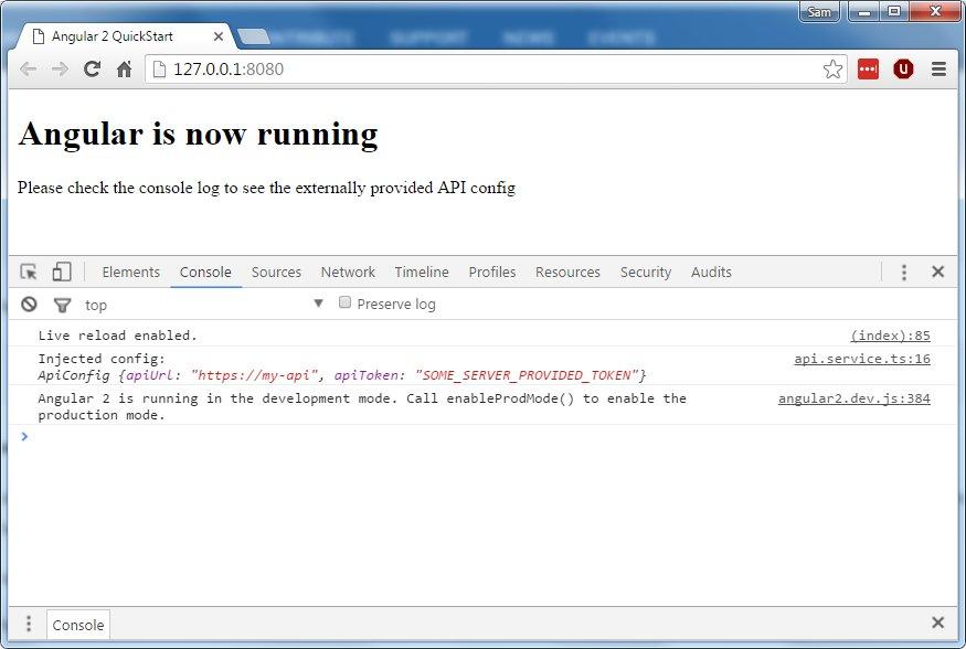 Providing external data when bootstrapping Angular 2