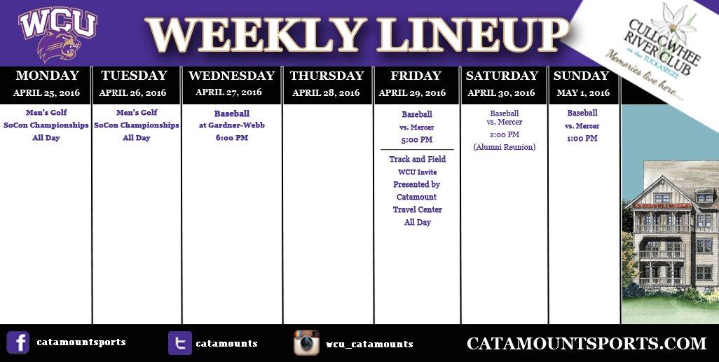 WCU athletic schedule (thru 5-1-16)