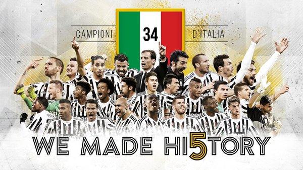 Quinto scudetto consecutivo per la Juventus Campione d'Italia 2015-2016