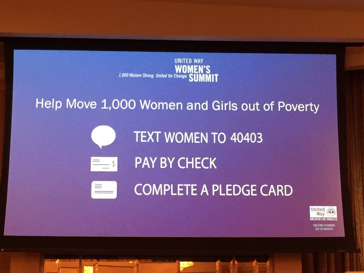 Please donate to get 1000 girls and women out of poverty! Text WOMAN to 40403 @LAUnitedWay @EliseBuik #WomenUnited https://t.co/1hS4MYl3ML