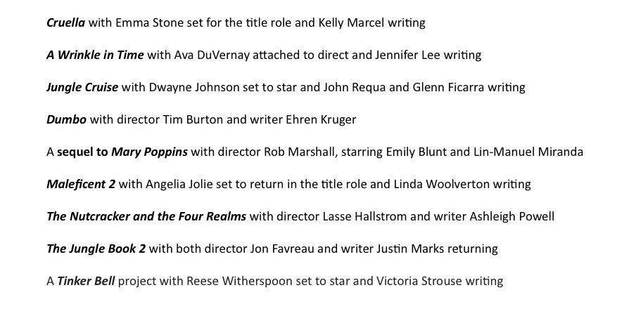 Disney announces a bunch of new titles, including @AVAETC directing A WRINKLE IN TIME, & Tim Burton directing DUMBO. https://t.co/JTG2FfHpg1