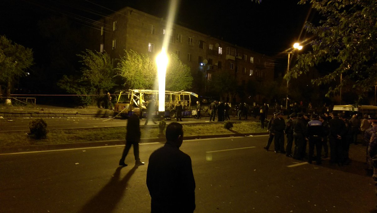 Shocking scene in Yerevan tonight - bus explosion - I saw body parts in the road just after the blast. https://t.co/Uw3WSy7QcU