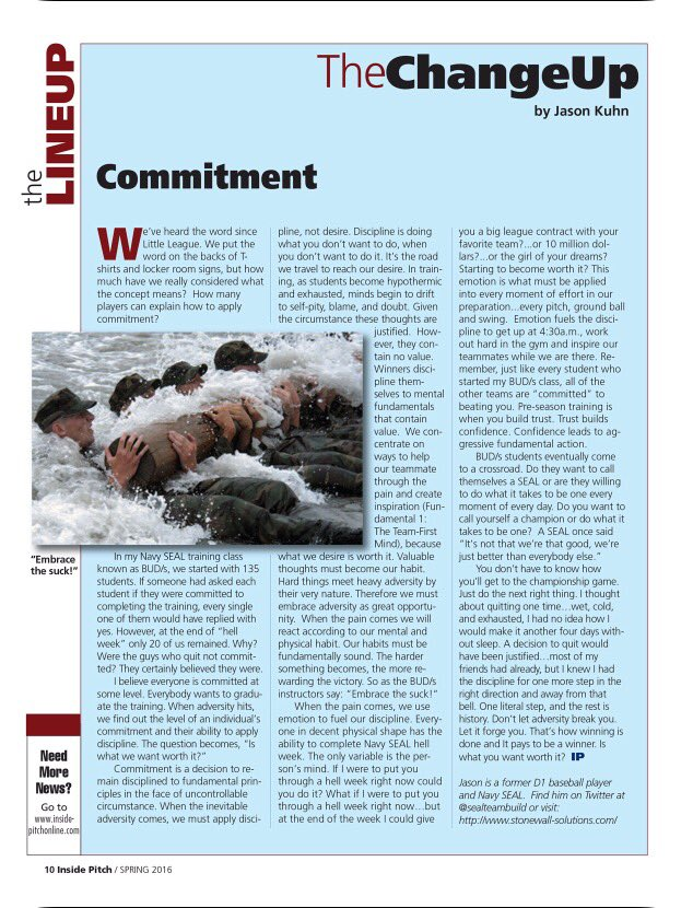 Awesome piece on COMMITMENT by @sealteambuild via @insidepitchmag  @ABCA1945 Just do the next right thing. https://t.co/RJxEz7J5wv