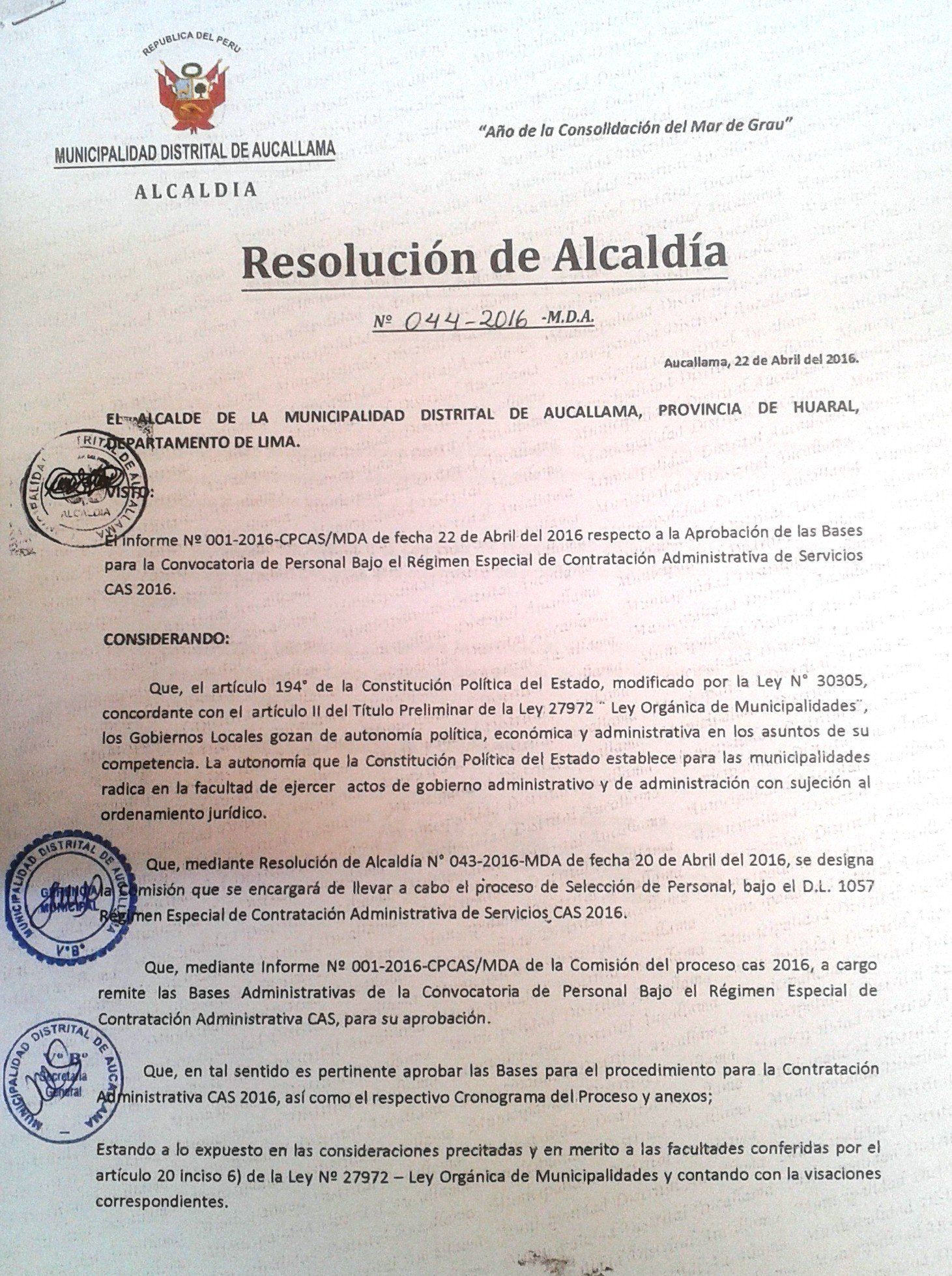 Municipalidad de Aucallama realiza convocatoria para contrato CAS 2016