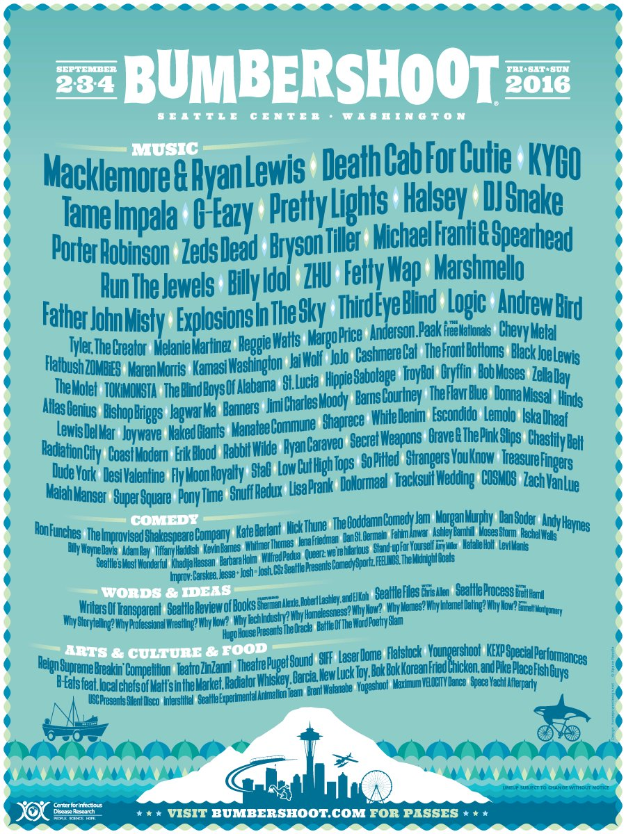 The #Bumbershoot2016 lineup is here! Passes on sale this Friday 4/29 at 10am at https://t.co/yJoG1nhuHW https://t.co/3ZdEw3paoQ