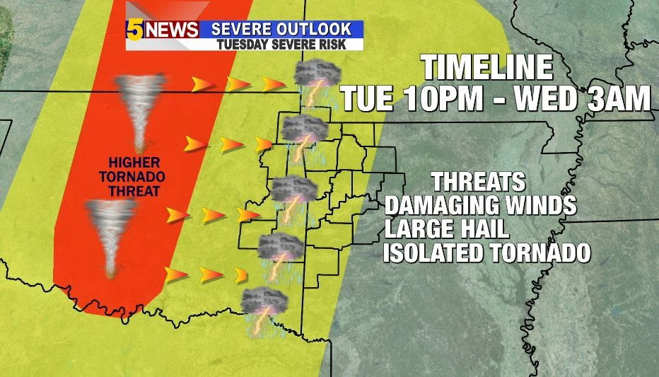 Severe storms expected tonight. 10pm to 3am. Wind, hail and isolated tornado threat. - @5NEWSJoe #arwx https://t.co/LtxfKrHX8O