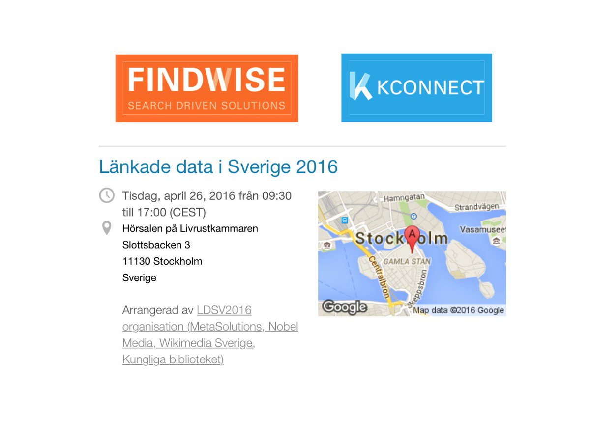 @Findwise presenting #KConnect at Linked Data Sweden #ldsv2016 #medicalinformation #futuresearch #search #ehr #emr https://t.co/iuL8IpxeD7
