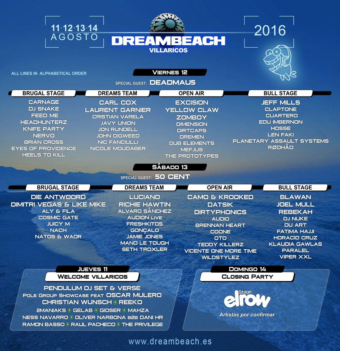 Cartel #Dreambeach por días y escenarios 🎉🎉 Entradas ya disponibles 👉 http://bitly.com/abonosDreambeach…  #GoVillaricos