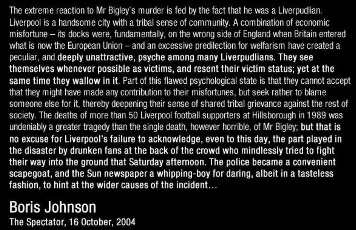 "Probably a good time to remind people, who see Boris Johnson as a ""larf"", of his own views on Hillsborough #JFT96 https://t.co/4j0Crk41mO"