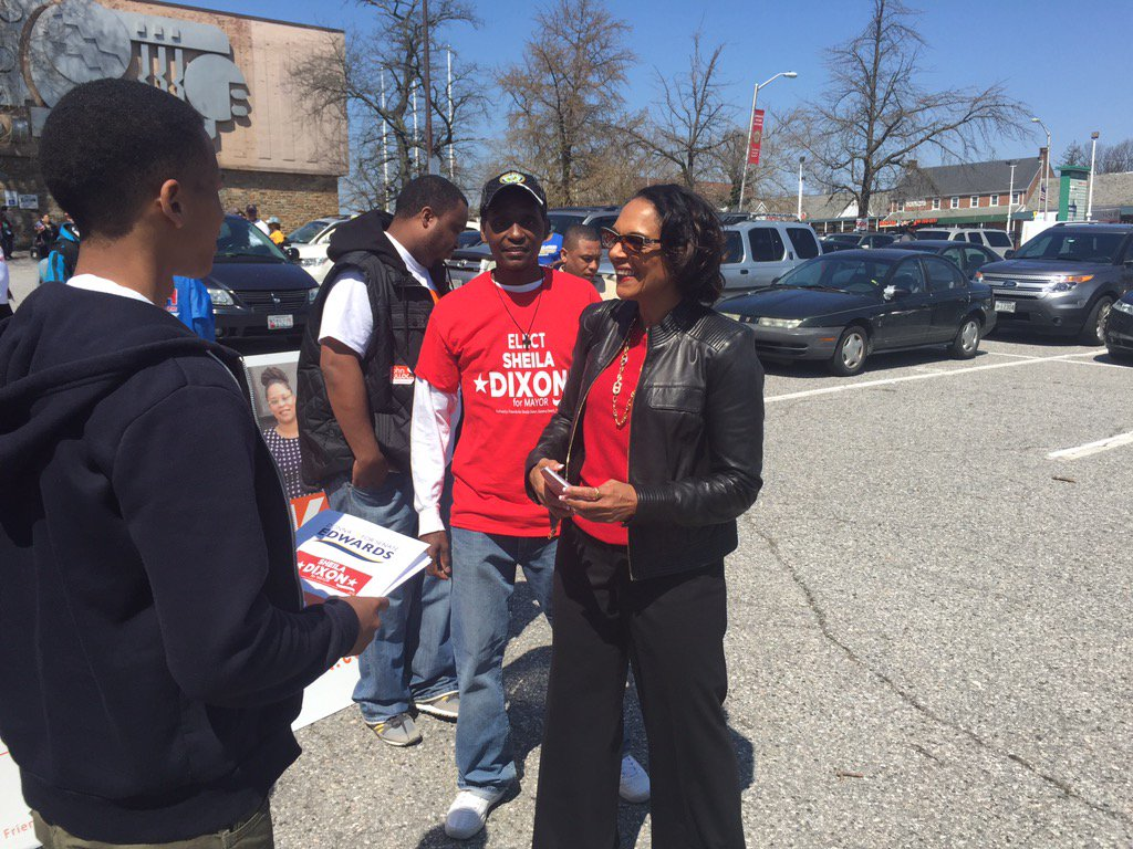 Early voting opens today. Sheila Dixon greeting voters at Westside Skills Center on Edmondson Ave. #mdprimary