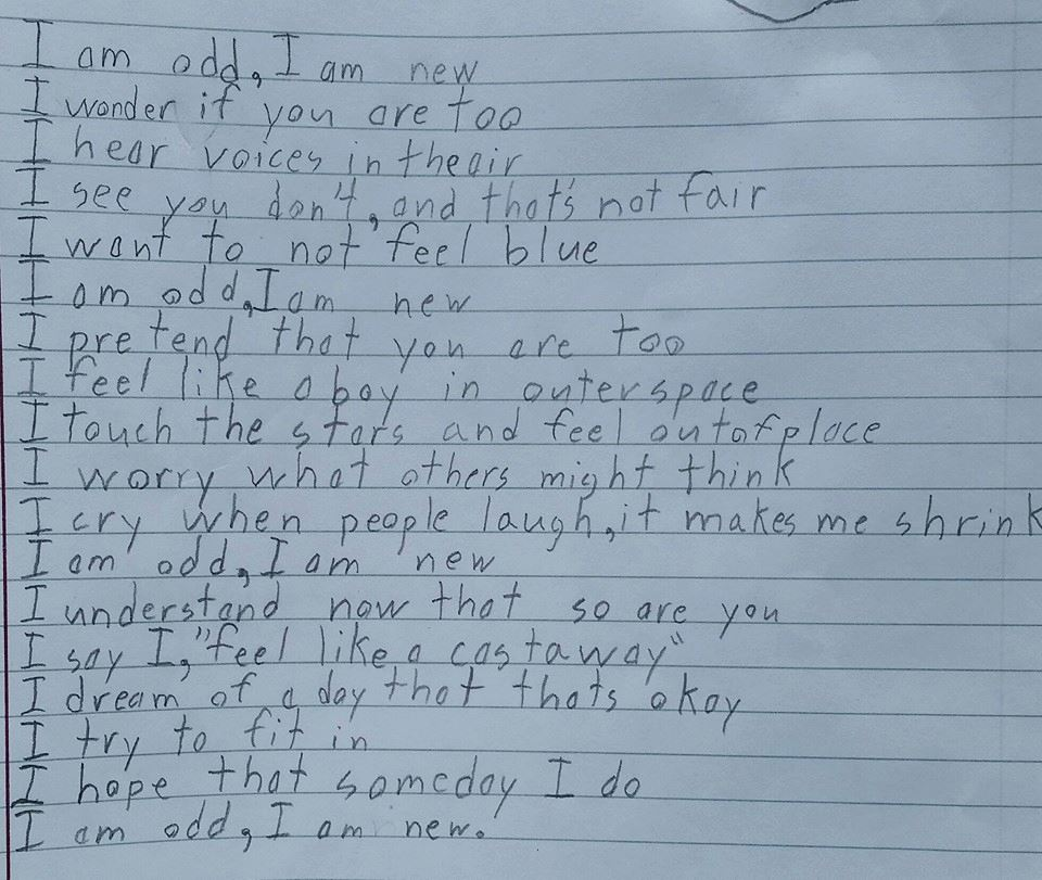 """My 10 year old son with Aspergers was asked to write a poem for school titled 'I Am'. This is what he wrote."" https://t.co/kxZ3P45GyB"
