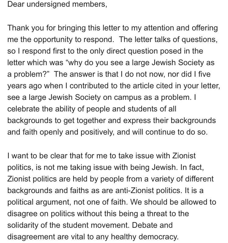 Malia Bouattia On Twitter I Received An Open Letter From Jewish