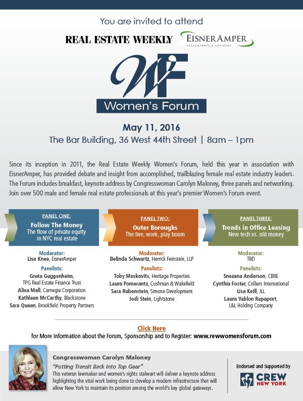 The countdown is underway to Real Estate Weekly's 5th Annual Women's Forum on May 11!  https://t.co/6bkjuJ5OWH https://t.co/7S7JxAZO1M