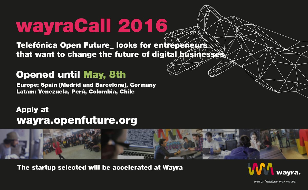 Do you want to join #Wayra? Apply at https://t.co/2MkKQs3u5t and take your startup to the top! #WayraCall16 https://t.co/4czZqPuItO