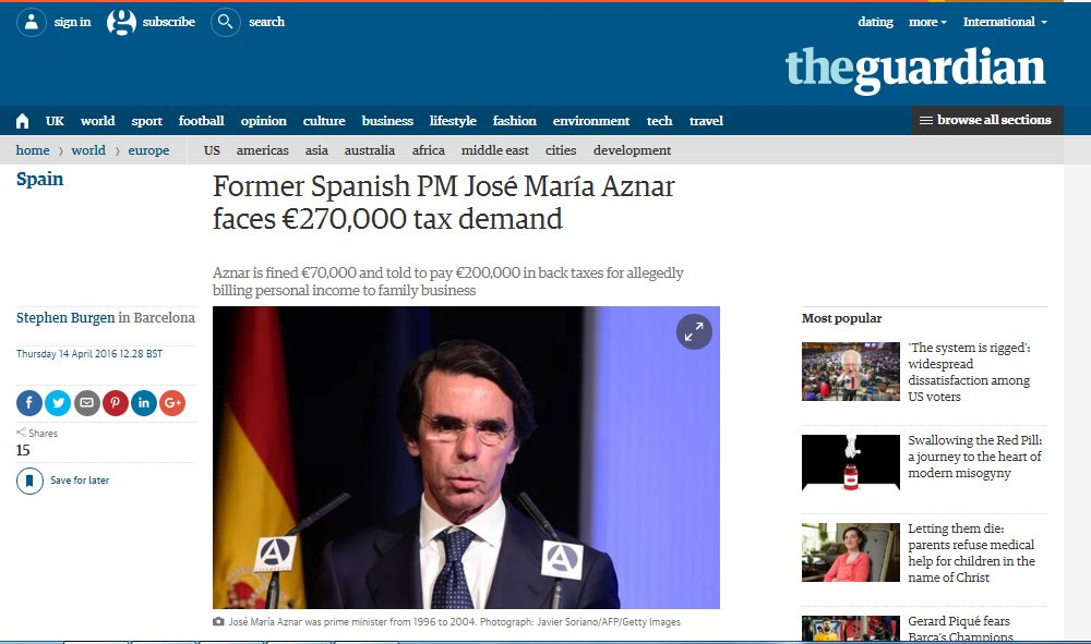 El caso Aznar preocupa más a The Guardian que a muchos medios españoles  https://t.co/9pOO0zqlb4 https://t.co/oLxPwBLE4e