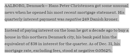"New world -> WSJ: ""How One Danish Couple Gets Paid Interest on Their Mortgage"" https://t.co/jpxf4qQ8IA https://t.co/nWp88OZTN2"