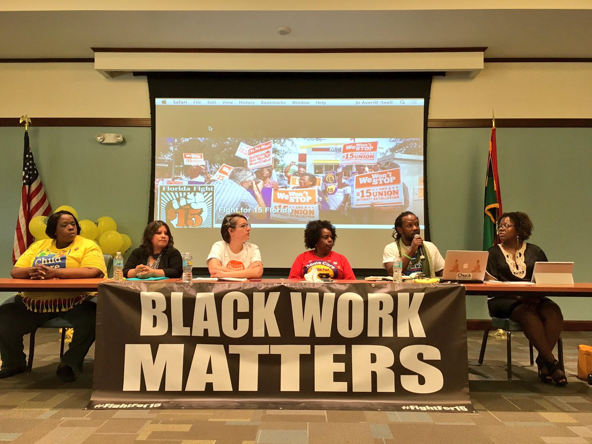 STRONG Panel on Labor, Race, Immigrant Rights & Climate Change in Tampa right now on this Strike Day! #FightFor15 https://t.co/wpCXgjGr1G