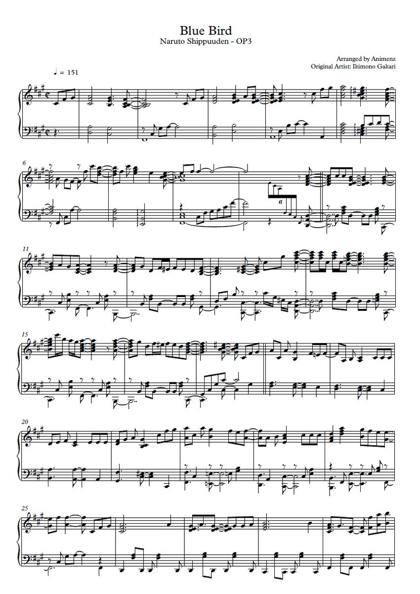Piano anime piano sheet music : Animenz on Twitter: