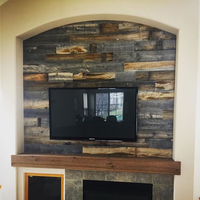 real wood decor stikwood is a peel and stick real wood decor rethink your walls TV Niche. Reclaimed Wood. #festoolusa #stikwood #cedarsupply  @lundgrenconstruction #realwoodpic.twitter.com-TatmCmBDx8
