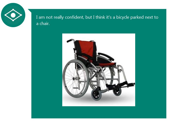 "Picture of a wheelchair, with a label ""I'm not certain, I think it's a bicycle in front of a chair)"