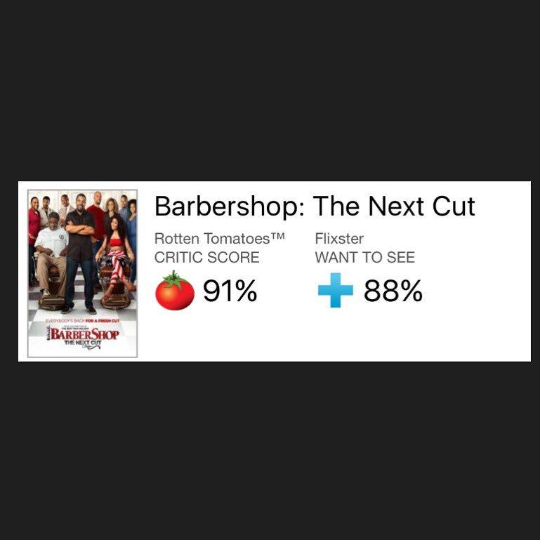 Rotten tomatoes & the critics are showing SUPER LOVE!!! Opening Tonight & tomorrow! #barbershopmovie #deoncoleslaw https://t.co/Q5gQplWbki