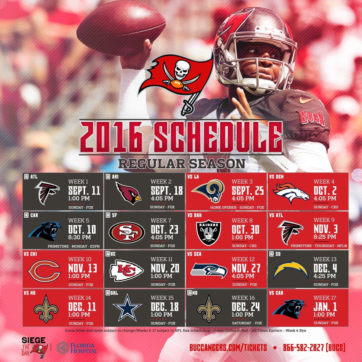 Tampa Bay Buccaneers On Twitter The Bucs 2016 Schedule Is Here Nflschedulerelease Read More Https T Co 0izoacdhyd Https T Co Cogicwehbj