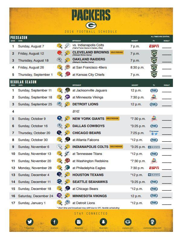 It is a picture of Vibrant Green Bay Schedule 2020 Printable