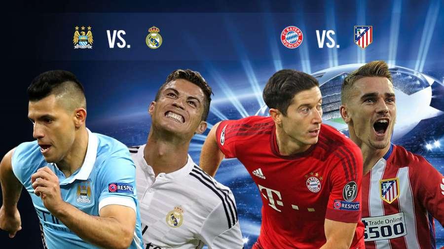 Atletico-Bayern e City-Real Madrid le semifinali Champions