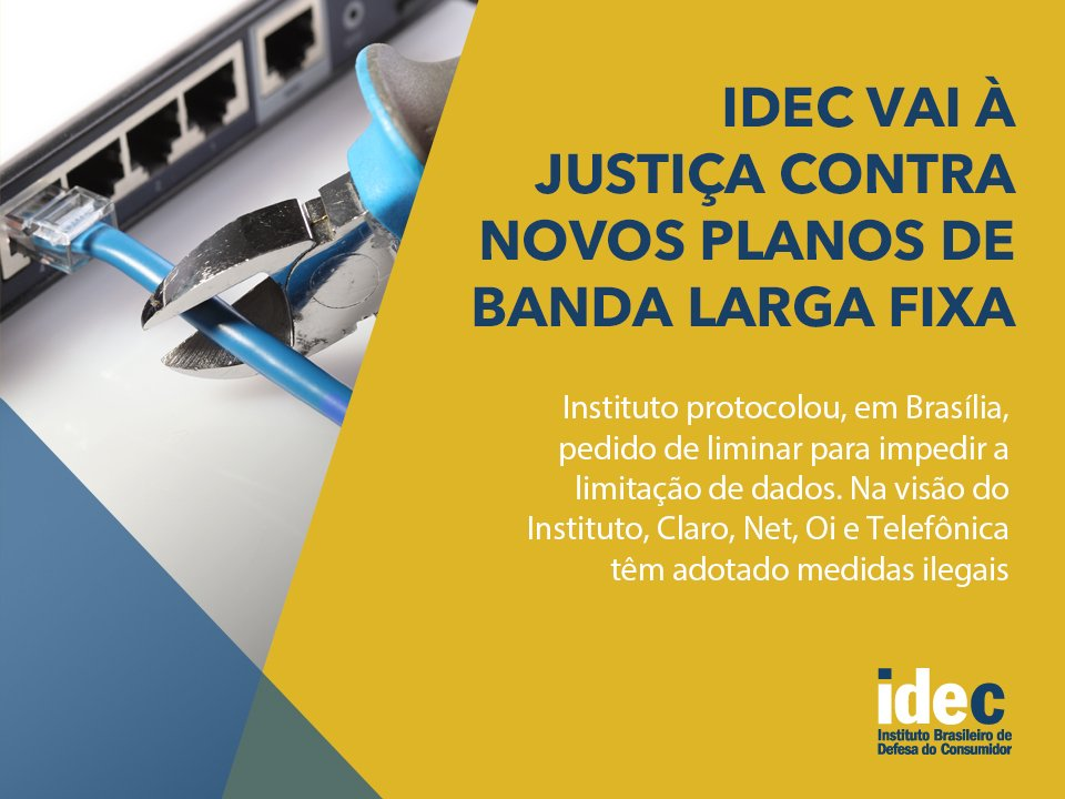 Ação Civil Pública do @Idec contra Claro/NET, Oi e Vivo. https://t.co/vExCRDFsZR #internetlivre #internetjusta https://t.co/Nv01baxsTl