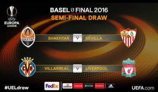 Shaktar vs Sevilla  Villarreal vs Liverpool  #UEL #sorteoeuropaleague <br>http://pic.twitter.com/tonm1LCZPl