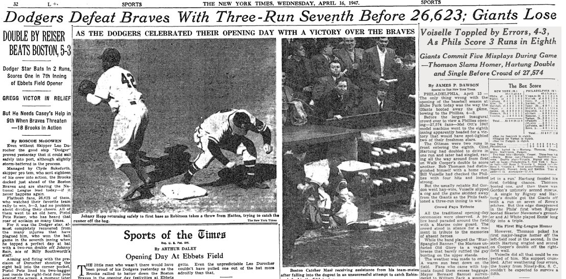NY Times sports page after Jackie Robinson's MLB debut