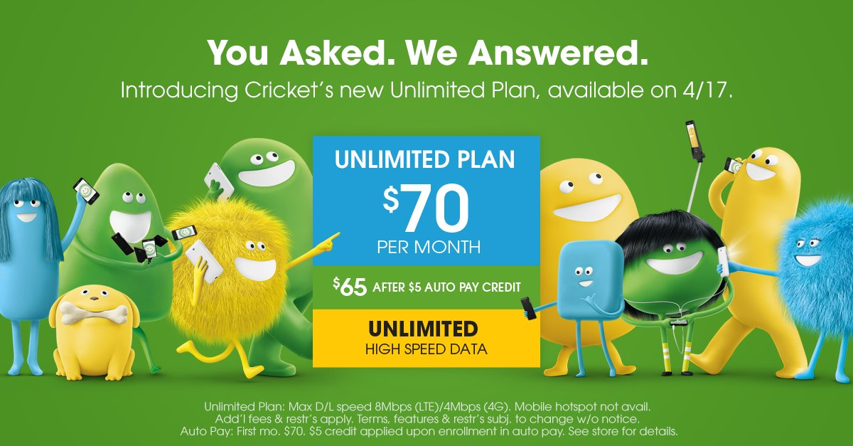 You Asked. We Answered. The new Cricket Unlimited Plan is available 4/17! https://t.co/PiFevgLOII https://t.co/x1q4FbDbYy
