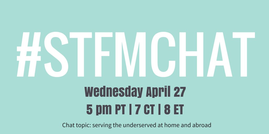 The next #STFMchat is talking about serving the underserved at home and abroad, with guest expert @RichmondDoc ! https://t.co/zKIy4CCMXV