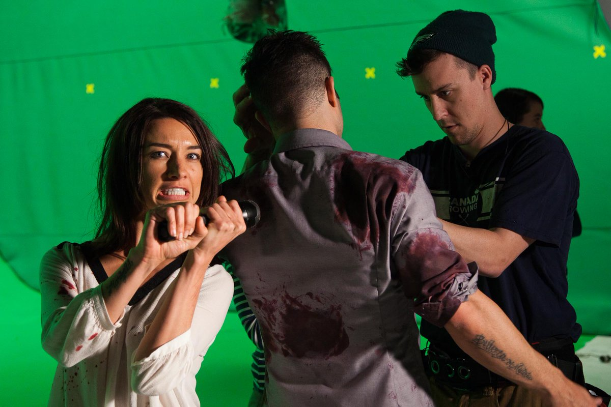 Cody, behind you! Cortney Palm adds to the #horror #OnSet of #DeathHouse! #Filmmaking #BTS