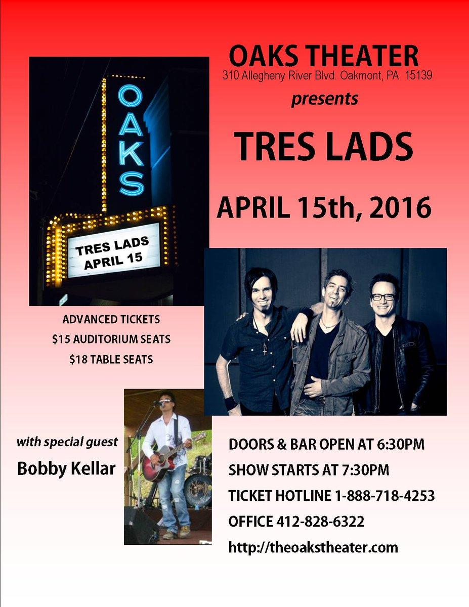 Tonight @TresLads w/ Bobby Kellar @TheOaksTheater tix at theoakstheater.com @BoringPGH @PghNewMusic @412nat
