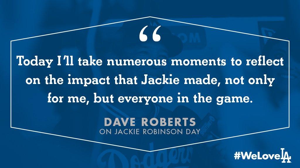 Dave Roberts on #JackieRobinsonDay. #ThankYouJackie <br>http://pic.twitter.com/5OdJR2tnrn