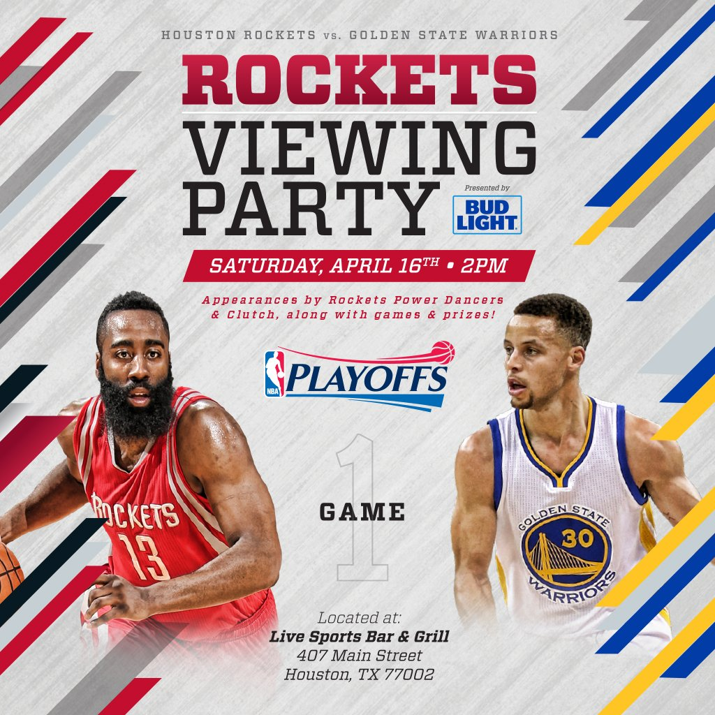 """Houston Rockets Game Log: Houston Rockets On Twitter: """"GAME 1 OFFICIAL VIEWING PARTY"""