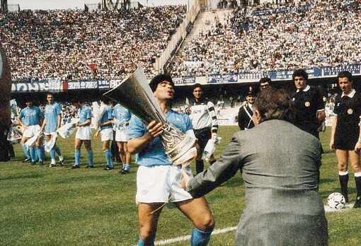 Vintagefooty On Twitter Maradona After Winning The Uefa Cup With Napoli 1989